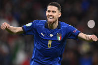 Italy's Jorginho celebrates after scoring the last penalty kick during the Euro 2020 soccer championship semifinal match against Spain at Wembley stadium in London, England, Tuesday, July 6, 2021. Jorginho converted the decisive penalty kick Tuesday to give Italy a 4-2 shootout win over Spain and a spot in the European Championship final. (Fabio Ferrari/LaPresse via AP)