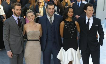 """Cast members of """"Star Trek Into Darkness"""" pose for photographers at the film's international premiere in Leicester Square, London"""