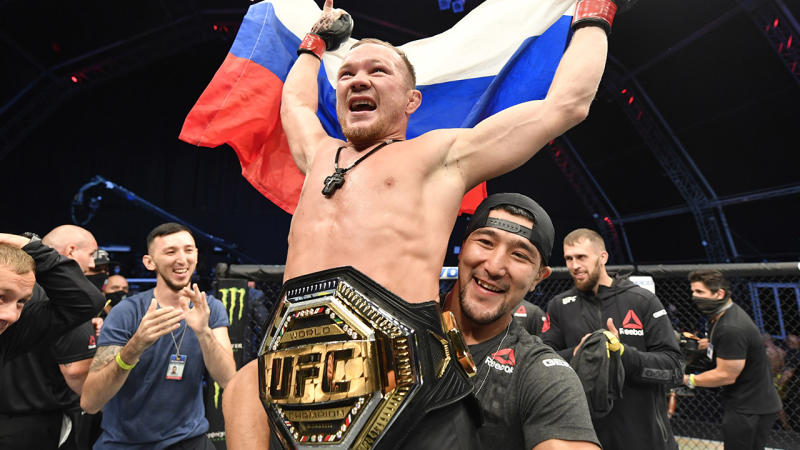 Petr Yan, pictured here celebrating his TKO victory over Jose Aldo at UFC 251.