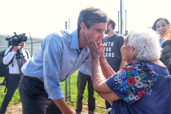 Beto O'Rourke is greeted by a supporter in Raymondville. (Photo: Holly Bailey/Yahoo News)