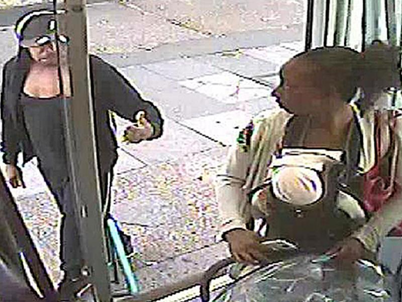 CCTV still issued by the Metropolitan Police of Rosalin Baker being given the thumbs up by Jeffrey Wiltshire as she boards a bus (PA)