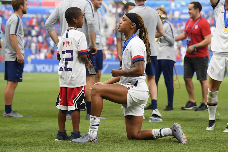 The NWSL checked in with the mothers in the league, like Jessica McDonald, when planning the month-long tournament in Utah. (Sebastian Gollnow/picture alliance via Getty Images)