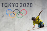 Keegan Palmer of Australia competes in the men's park skateboarding prelims at the 2020 Summer Olympics, Thursday, Aug. 5, 2021, in Tokyo, Japan. (AP Photo/Ben Curtis)