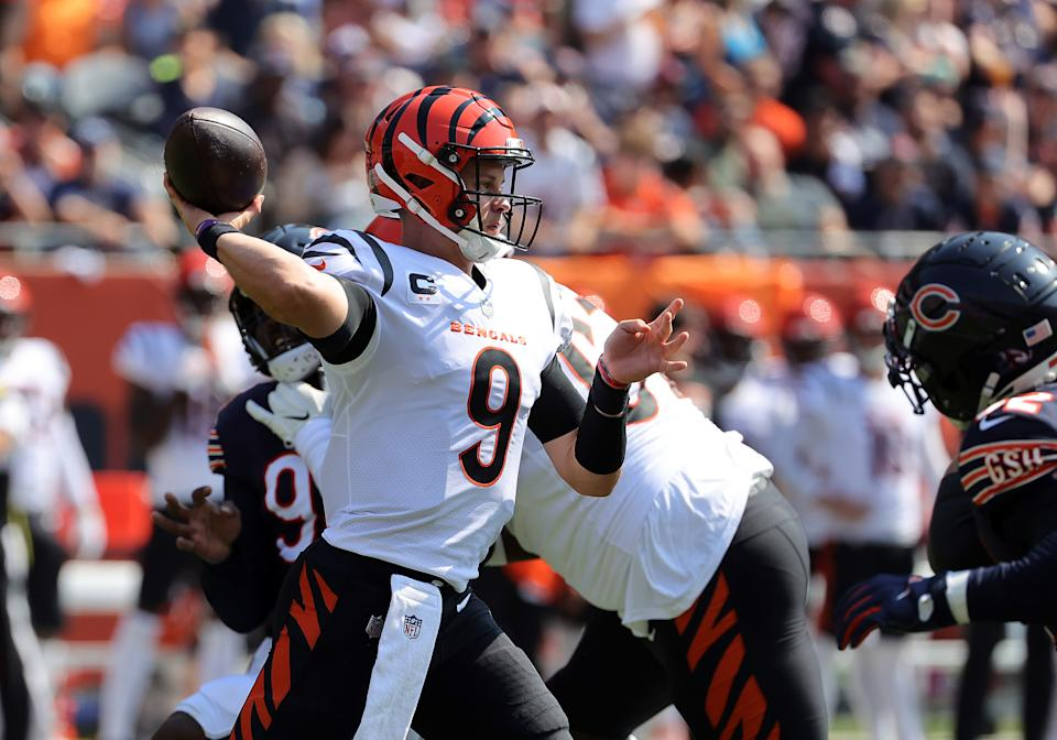 CHICAGO, ILLINOIS - SEPTEMBER 19: Quarterback Joe Burrow #9 of the Cincinnati Bengals throws the ball during the second half in the game against the Chicago Bears at Soldier Field on September 19, 2021 in Chicago, Illinois. (Photo by Jonathan Daniel/Getty Images)