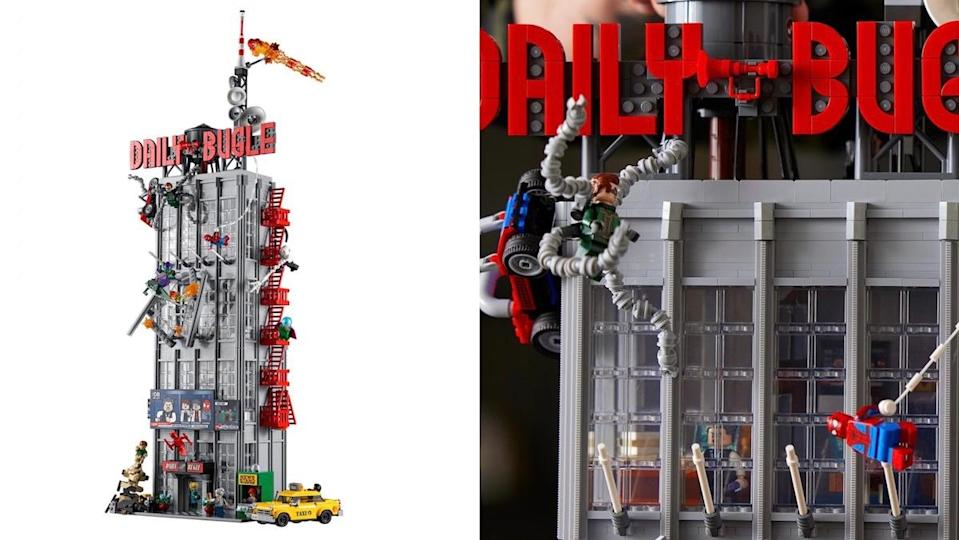 Split screen with LEGO's full Daily Bugle set completely constructed and a detail of the outside with Dr. Octopus and Spider-Man minifigs