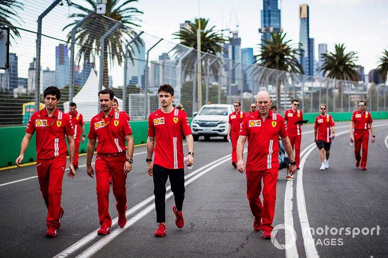 "Charles Leclerc, Ferrari walks the track with members of the team including Jock Clear, Race Engineer, Ferrari. <span class=""copyright"">Sam Bloxham / Motorsport Images</span>"