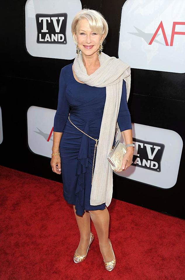 """Helen Mirren gave actresses half her age a run for their money when she took the stage during the ceremony in a body-hugging blue wrap dress (she ditched the scarf for her speech). Helen and Morgan appeared together in last year's action-comedy flick """"Red."""" Kevin Winter/<a href=""""http://www.gettyimages.com/"""" target=""""new"""">GettyImages.com</a> - June 9, 2011"""