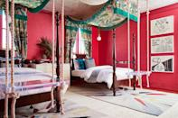 """<p>Canopy beds are cool no matter what, a wild print makes one even more fun. Also, why use an end bench when you can install an indoor Lucite swing at the foot of your bed instead? Leave it up to <a href=""""https://studioheimat.com/"""" rel=""""nofollow noopener"""" target=""""_blank"""" data-ylk=""""slk:Studio Heimat"""" class=""""link rapid-noclick-resp"""">Studio Heimat</a> to knock the teenage bedroom design out of the park.</p>"""