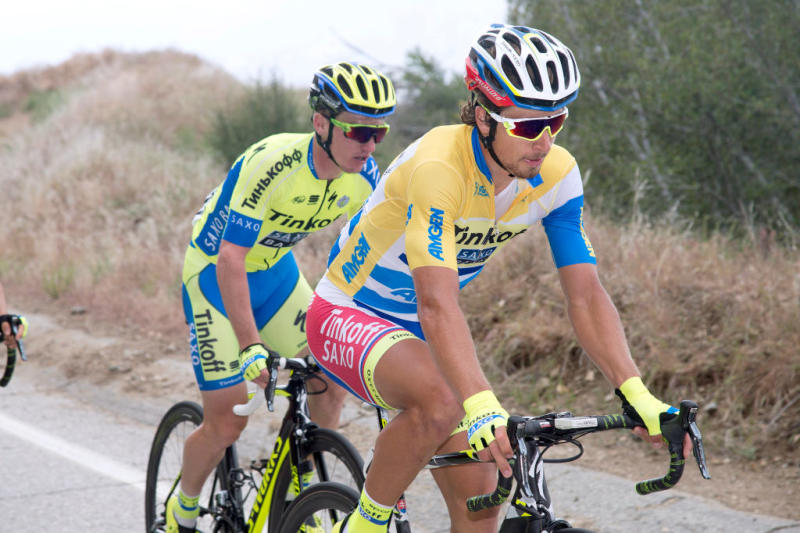 Tinkoff-Saxo's Peter Sagan – in the leader's yellow-and-blue jersey on stage 7 – races to what would eventually be the overall title at the 2015 Tour of California