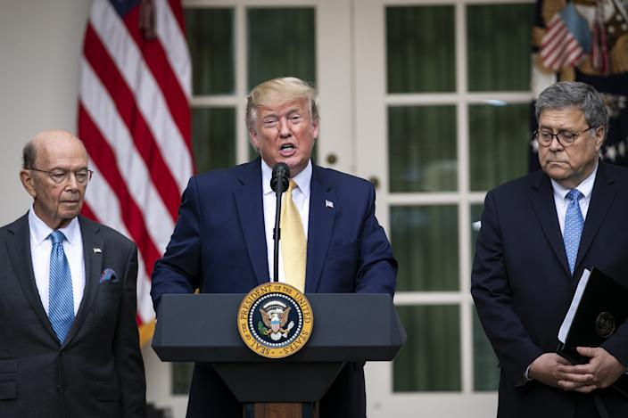 Donald Trump with Wilbur Ross, left, and William Barr