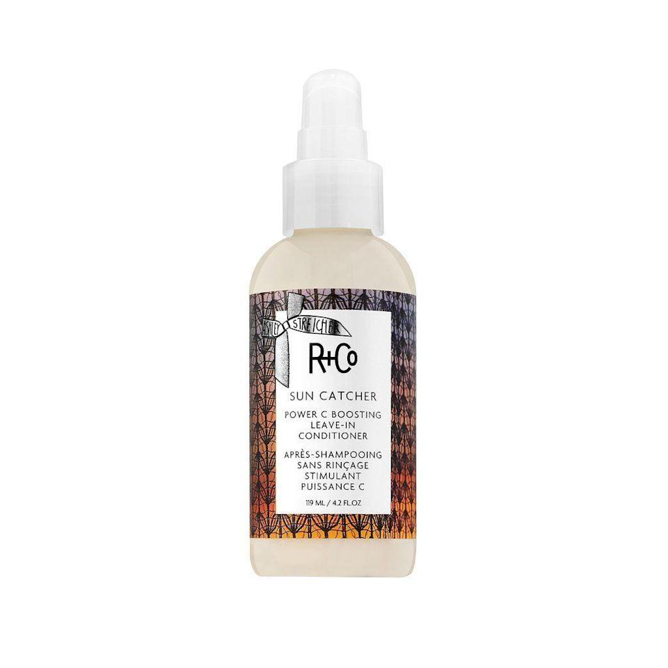 """<p><strong>R+Co</strong></p><p>randco.com</p><p><strong>$35.00</strong></p><p><a href=""""https://www.randco.com/sun-catcher-vitamin-c-leave-in-conditioner"""" rel=""""nofollow noopener"""" target=""""_blank"""" data-ylk=""""slk:SHOP"""" class=""""link rapid-noclick-resp"""">SHOP</a></p><p>Vitamin C for your hair because why not? In this leave-in conditioner, vitamin C works to help protect hair from harmful UV rays and environmental aggressors. It is also made with hyaluronic acid to help lock in moisture and coconut oil to smooth out strands. </p>"""