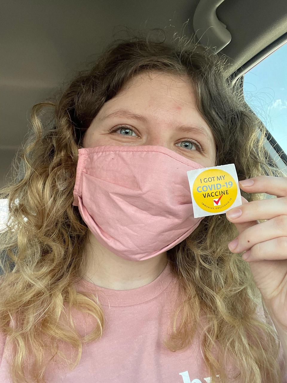 Emma Keith, an education reporter at The Norman Transcript in Oklahoma, was able to get vaccinated as part of the state's Phase 2 group on March 10. Keith, a former intern at the Detroit Free Press, posted her photo the correct way on social media by showing a sticker, not her CDC vaccine card with her personal information.