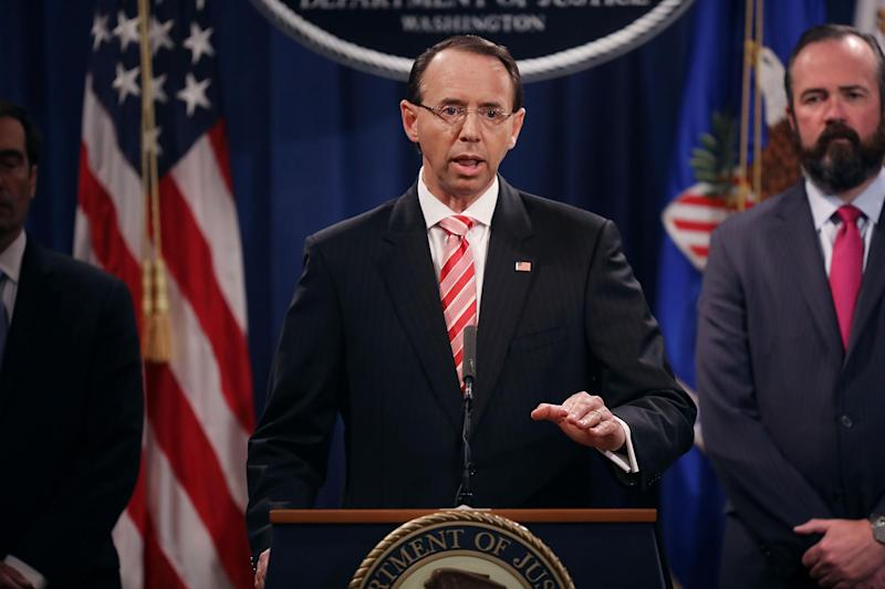 Deputy Attorney General Rod Rosenstein holds a news conference at the Department of Justice: Chip Somodevilla/Getty Images
