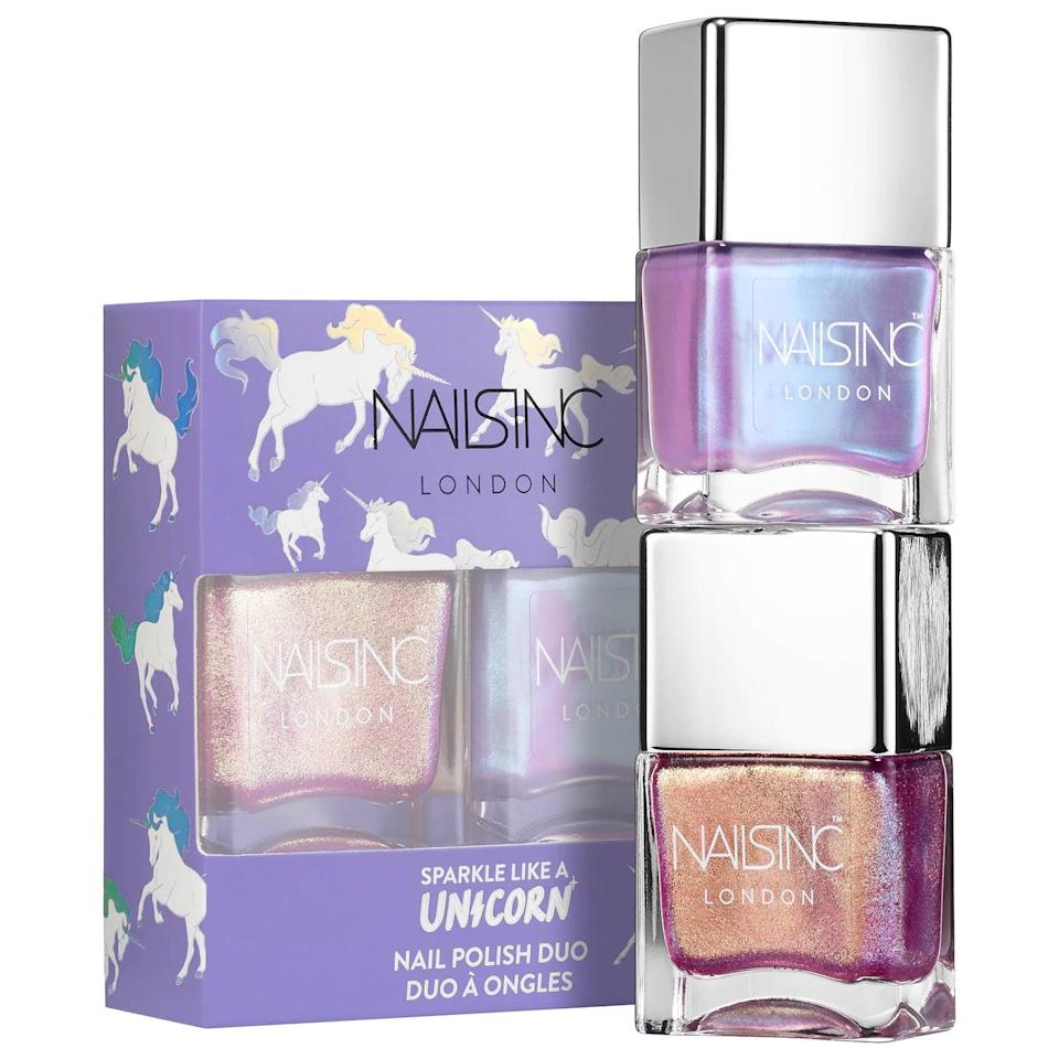 <p>Thei nails will look stunning with the <span>Nails Inc. Unicorn Nail Polish Duo</span> ($15). They can choose from a soft sheen rainbow, a high impact sparkle, or use them both!</p>