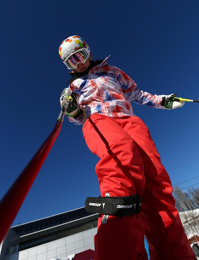 Liechtenstein's Tina Weirather trains at the Alpine ski course ahead of the Sochi 2014 Winter Olympics, Wednesday, Feb. 5, 2014, in Krasnaya Polyana, Russia. (AP Photo/Alessandro Trovati)