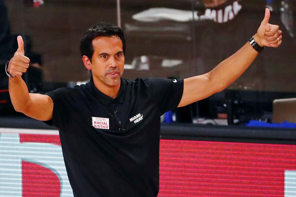 Heat coach Erik Spoelstra has two championship rings to his name. (Kim Klement - Pool/Getty Images)