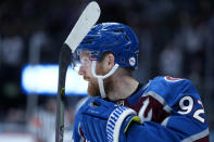 Colorado Avalanche left wing Gabriel Landeskog (92) celebrates a goal against the Los Angeles Kings during the second period of an NHL hockey game Wednesday, May, 12, 2021, in Denver. (AP Photo/Jack Dempsey)