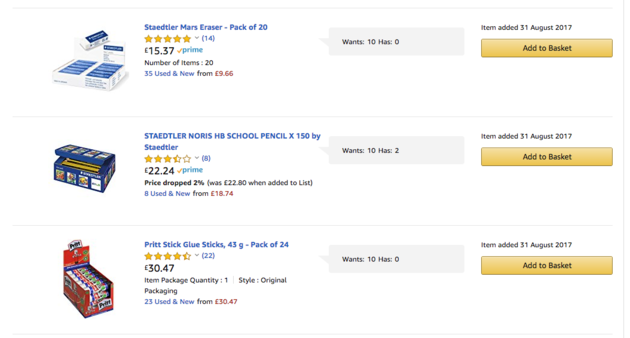 St Mary's Primary School lists pencils, rubbers and glue sticks in its Amazon wish list.