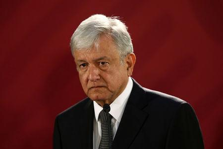 Mexico's new President Andres Manuel Lopez Obrador holds a news conference at National Palace in Mexico City