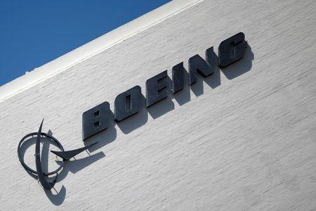FILE PHOTO: The logo of Dow Jones Industrial Average stock market index listed company Boeing (BA) is seen in Los Angeles, California, United States, April 22, 2016. REUTERS/Lucy Nicholson