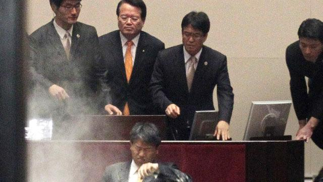 Korean Lawmakers Survive Tear Gas to Pass Bill