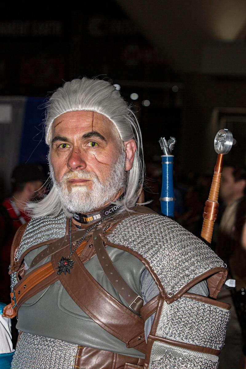 "Cosplayer James Galloway dressed as Geralt of Rivia from ""The Witcher."""