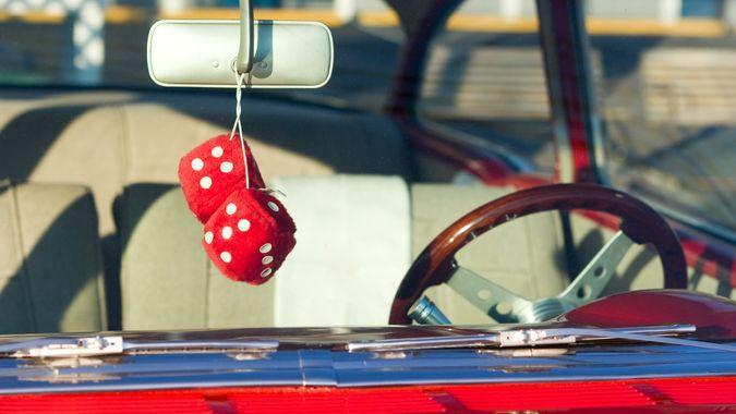 1950s Style, American Culture, Chrome, Classic, Collector's Car, Color Image, Diminishing Perspective, Fuzzy Dice, Hot Rod, Nostalgia, Number 5, Old-fashioned, Personal Perspective, Rear-View Mirror, Red, Retro Revival, Simplicity, Steering Wheel, Vehicle Interior, Vintage Car, car, nobody