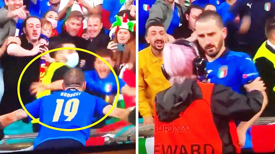 Leonardo Bonucci (pictured right) confused after he was mistaken for a fan by a steward during his celebration (pictured left) after Italy won.
