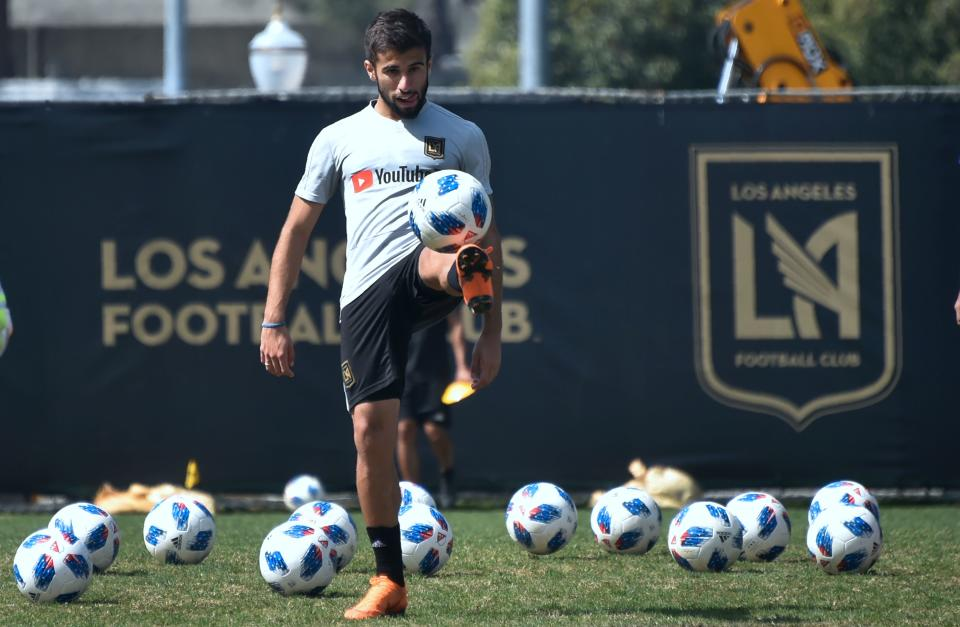 Uruguayan Diego Rossi, 19, of the Los Angeles Football Club juggles the ball during training at UCLA on March 8, 2018, four days after scoring the first goal in LAFC's first ever MLS game, just 11 minutes into the match, a 1-0 win over the Seattle Sounders.   / AFP PHOTO / FREDERIC J. BROWN / TO GO WITH AFP STORY by Pedro REPARAZ        (Photo credit should read FREDERIC J. BROWN/AFP via Getty Images)