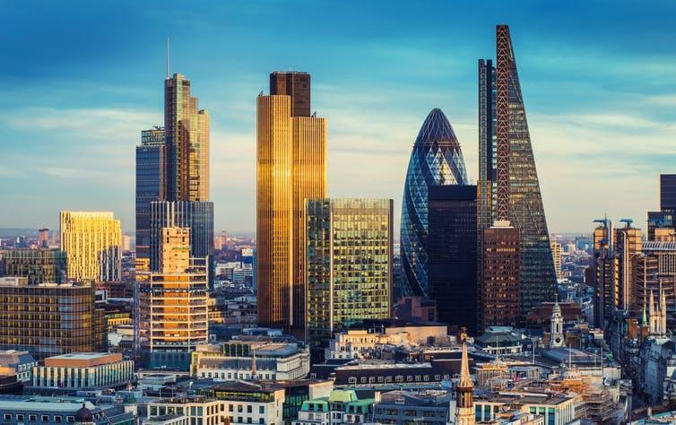 """<span class=""""caption"""">London's financial services sector will likely be better off than less high-profile industries.</span> <span class=""""attribution""""><a class=""""link rapid-noclick-resp"""" href=""""https://www.shutterstock.com/image-photo/bank-district-central-london-famous-skyscrapers-377534515?src=aoVtvXMXIG6AElhEr9-3_A-1-2"""" rel=""""nofollow noopener"""" target=""""_blank"""" data-ylk=""""slk:shutterstock.com"""">shutterstock.com</a></span>"""