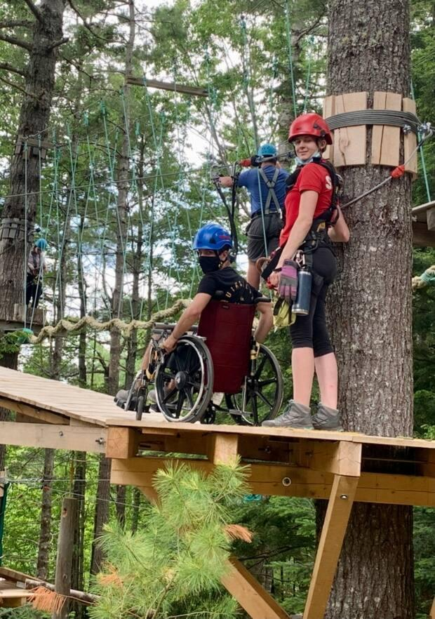 A wheelchair user gets ready to use a zipline at Ontree Fun and Adventure Park in Windsor, N.S. (Submitted by Ontree - image credit)