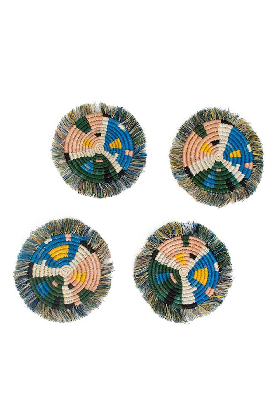 """<p><strong>Jungalow</strong></p><p>jungalow.com</p><p><strong>$40.00</strong></p><p><a href=""""https://www.jungalow.com/products/peach-fringe-coasters?_pos=3&_sid=015e78f07&_ss=r"""" rel=""""nofollow noopener"""" target=""""_blank"""" data-ylk=""""slk:Shop Now"""" class=""""link rapid-noclick-resp"""">Shop Now</a></p><p>Considering how many mugs she drinks while reading, coasters are a must. </p>"""