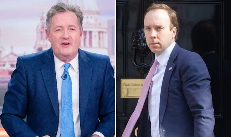 Piers Morgan and Matt Hancock (Photo: Ken McKay/Mark Thomas/ITV/Shutterstock)