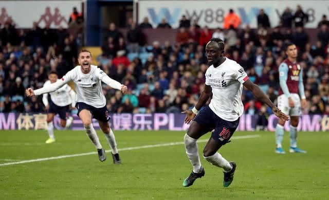 Sadio Mane, right, sparked wild scenes of celebration at Villa Park in early November. The Senegal forward flicked home a stoppage-time winner as the Reds came from behind to win 2-1 in dramatic fashion thanks to two late goals (Nick Potts/PA)