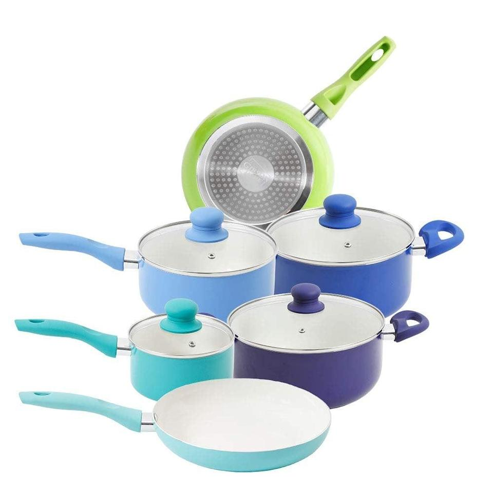 <p>Add a pop of color to your kitchenware with the fun <span>Mainstays 10 Piece White Ceramic Non-stick Cookware Set, Cool</span> ($55, originally $99).</p>