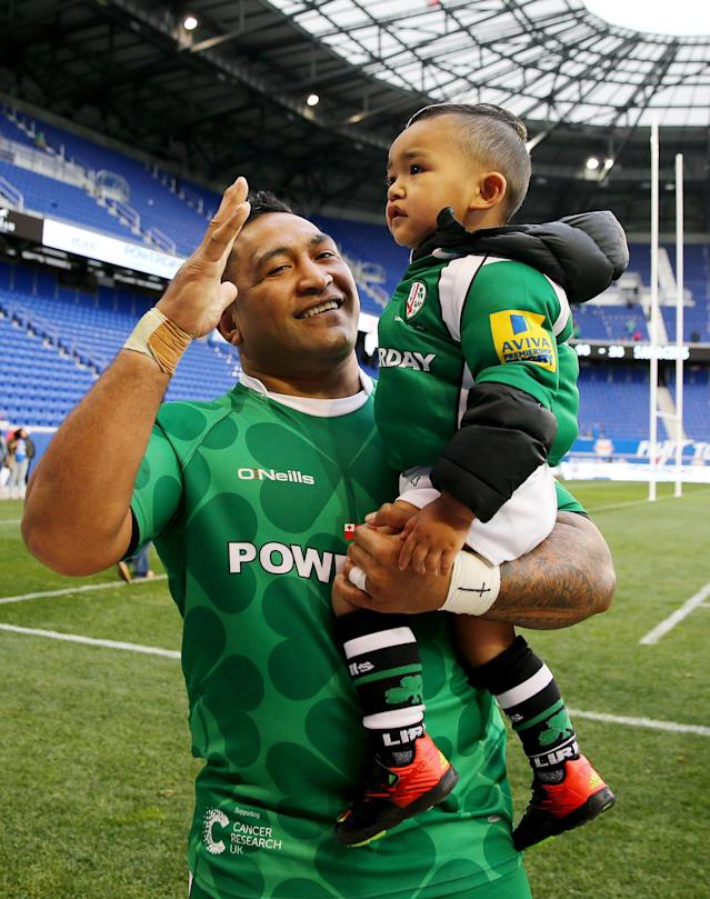 HARRISON, NJ - MARCH 12: Halani Aulika #3 of London Irish walks on the field after the match against Saracens during the Aviva Premiership match on March 12, 2016 at Red Bull Arena in Harrison, New Jersey. (Photo by Elsa/Getty Images)