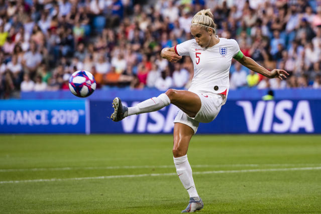 Steph Houghton of England in action during the 2019 FIFA Women's World Cup France Quarter Final match between Norway and England at on June 27, 2019 in Le Havre, France. (Photo by Marcio Machado/Getty Images)