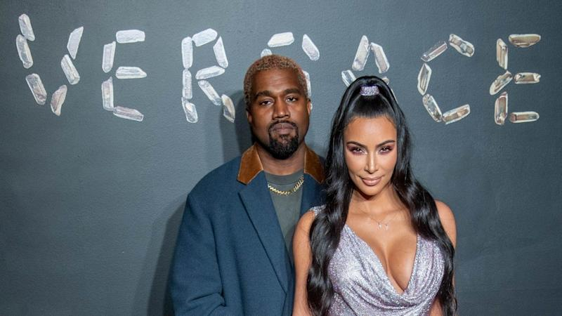 42d3a834552 Kim Kardashian and Kanye West Look More In Love Than Ever at Versace  Fashion Show