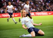 <p>The FFF away kit, white shirt and socks paired with blue shorts carries a unique hexadot pattern referencing both the country's informal nickname (l'hexagone) and the dotted styles of French fashion. </p>