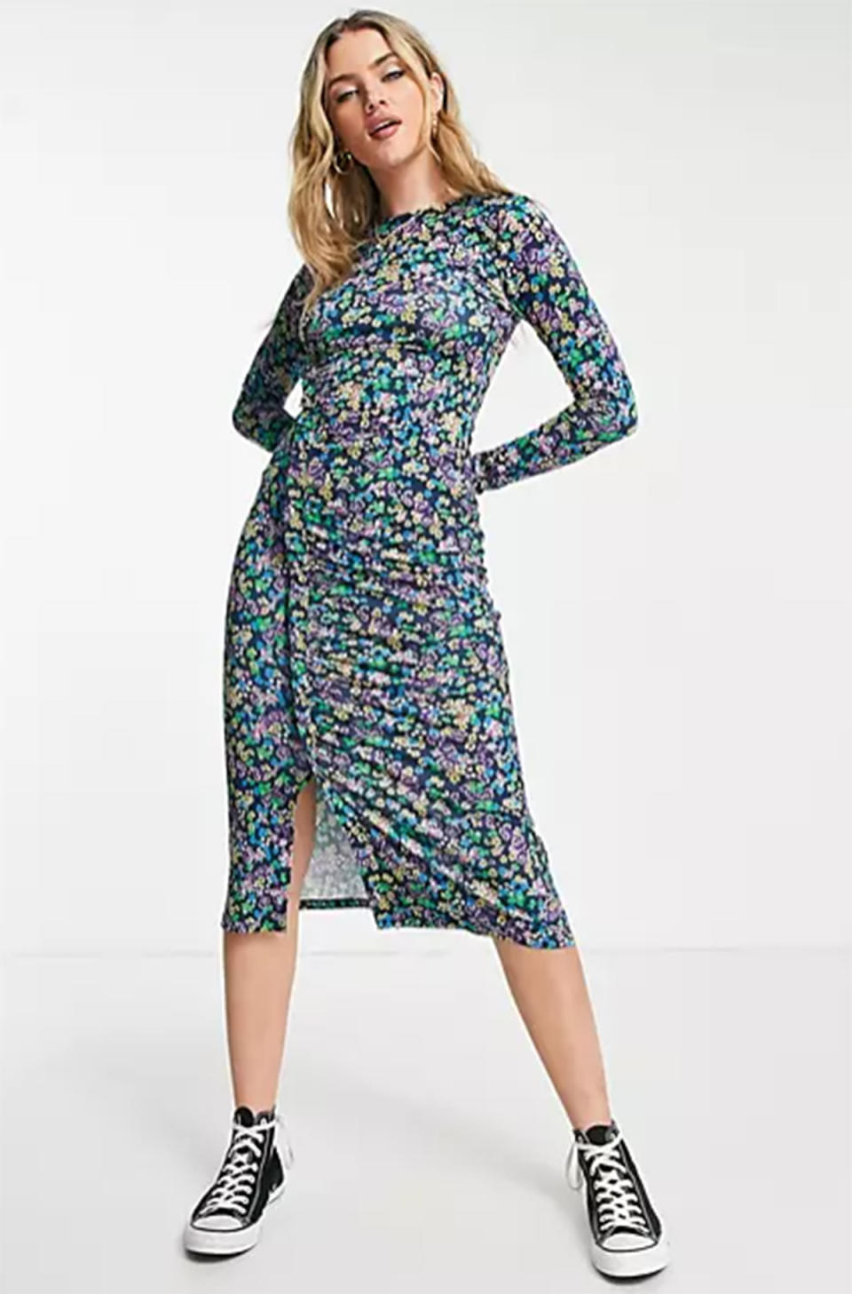 ASOS DESIGN midi dress with frill ruched detail in blue ditsy floral, $56. Photo: ASOS.