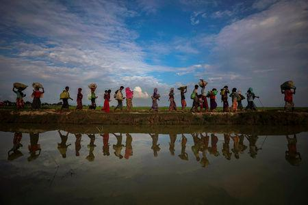 FILE PHOTO: Rohingya refugees are reflected in rain water along an embankment next to paddy fields after fleeing from Myanmar into Palang Khali, near Cox's Bazar, Bangladesh November 2, 2017. REUTERS/Hannah McKay/File Photo