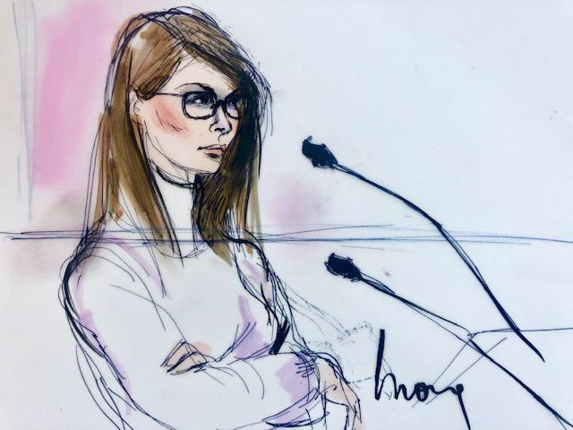 "Lori Loughlin came off as ""defiant"" and ""a little arrogant"" in her courtroom appearance on Wednesday, according to sketch artist Mona Shafer Edwards. (Image: Mona Shafer Edwards/Reuters)"