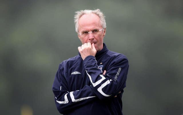Sven-Goran Eriksson looks thoughtful as he watches training