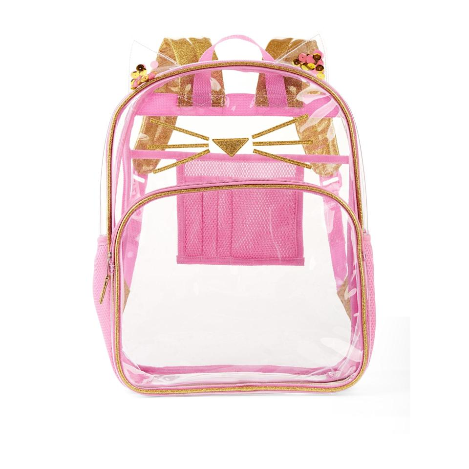 "<p>This clear <a href=""https://www.popsugar.com/buy/Wonder-Nation-Clear-Kids-Backpack-493041?p_name=Wonder%20Nation%20Clear%20Kids%20Backpack&retailer=walmart.com&pid=493041&price=13&evar1=moms%3Aus&evar9=46653602&evar98=https%3A%2F%2Fwww.popsugar.com%2Ffamily%2Fphoto-gallery%2F46653602%2Fimage%2F46653608%2FWonder-Nation-Clear-Kids-Backpack&list1=shopping%2Cback%20to%20school%2Cwalmart%2Cbackpacks%2Cback%20to%20school%20shopping&prop13=api&pdata=1"" rel=""nofollow"" data-shoppable-link=""1"" target=""_blank"" class=""ga-track"" data-ga-category=""Related"" data-ga-label=""https://www.walmart.com/ip/Wonder-Nation-Clear-Kids-Backpack/361598786"" data-ga-action=""In-Line Links"">Wonder Nation Clear Kids Backpack</a> ($13) has whiskers, and it's so adorable.</p>"