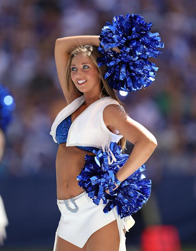INDIANAPOLIS, IN - SEPTEMBER 16: A Indianapolis Colts cheerleader performs during the NFL game against the Minnesota Vikings at Lucas Oil Stadium on September 16, 2012 in Indianapolis, Indiana. (Photo by Andy Lyons/Getty Images)