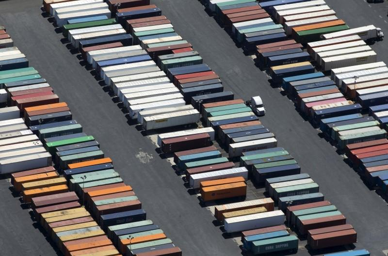 Semi-truck trailers are shown at the Port of Long Beach in this aerial photograph taken above Long Beach, California
