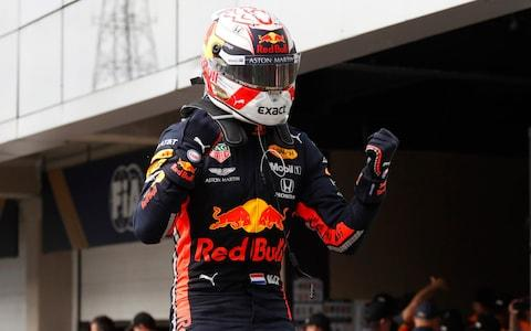 Red Bull driver Max Verstappen, of the Netherlands, after winning the the Brazilian Formula One Grand Prix at the Interlagos race track in Sao Paulo, Brazil, Sunday, Nov. 17, 2019. - Credit: AP