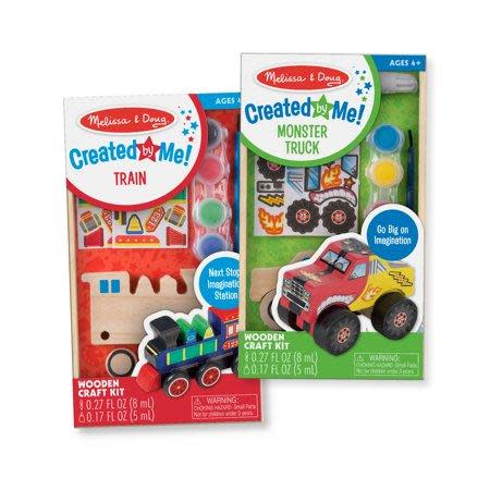 """<p><strong>Melissa & Doug</strong></p><p>walmart.com</p><p><strong>$9.99</strong></p><p><a href=""""https://go.redirectingat.com?id=74968X1596630&url=https%3A%2F%2Fwww.walmart.com%2Fip%2F764862106&sref=https%3A%2F%2Fwww.goodhousekeeping.com%2Fhome%2Fcraft-ideas%2Fg31897586%2Fcraft-kits-for-kids%2F"""" rel=""""nofollow noopener"""" target=""""_blank"""" data-ylk=""""slk:Shop Now"""" class=""""link rapid-noclick-resp"""">Shop Now</a></p><p>This kit is part-craft and part art project, since kids have to assemble the wooden train and monster truck before they get to paint them. And if the kids really enjoy painting on wood, there are <a href=""""https://www.walmart.com/ip/Melissa-Doug-Decorate-Your-Own-Wooden-Butterfly-Magnets-Craft-Kit/50389659"""" rel=""""nofollow noopener"""" target=""""_blank"""" data-ylk=""""slk:DIY butterfly magnets"""" class=""""link rapid-noclick-resp"""">DIY butterfly magnets</a>, too. </p>"""