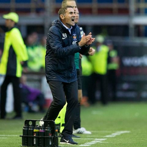 Kilmarnock manager Angelo Alessio shouts from the touchline during the UEFA Europa League first qualifying round second leg match at Rugby Park - Credit: PA