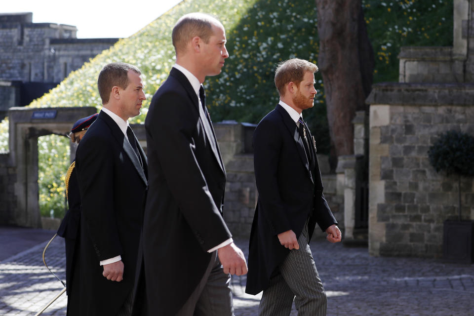 Harry and William reported began arguing as soon as they were out of the public eye after Prince Philip's funeral. Photo: Getty